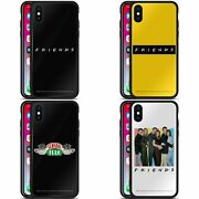 Official Friends Tv Show Logos Black Hybrid Glass Back Case For Iphone Phones