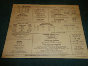 1967 Chevrolet Corvair 164 6 Cyl Engine Sun Tune-up Chart / Turbo Air / 110 H.p.
