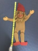 Vtg Spielzeug Big 20 Wooden Pull String Puppet Troll Decor Germany Hand Carved