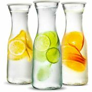 Water Carafe And Pitcher By Kook Glass Body Plastic Lid Set Of 3 Carafes Andamp