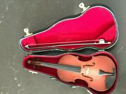 Vintage 9 Miniature Violin W/ Bow Wood Music Instrument Model With Case Box