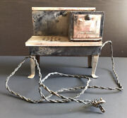 Antique/vintage Mini Electric Toy Stove/oven Kitchen Tin Metal 1920and039s Rustic