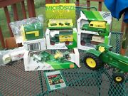 Nib John Deere Die Cast Toy - Tractor - Bank - Lot - Lg Played W/ Tractor
