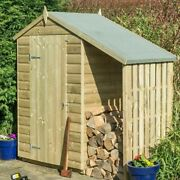 4x3 Rowlinson Oxford Shed + Lean To Wood Garden Logstore Log Storage 4ft 3ft