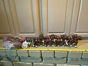 Vintage Cast Iron Clydesdale Beer Wagon Metal Horse Drawn Cart Wagon