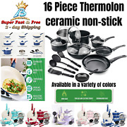 Ceramic Kitchen Cookware Set Nonstick All In One Pots Pans Lids 16 Pieces New