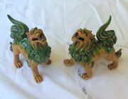 Pair Of Vintage Chinese Crackle Glaze Green Yellow Foo Dogs Temple Fu Lions