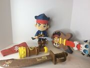 Disney Junior Jake And The Neverland Pirates Toy Lot Doll Guitar Sword Telescope