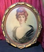Vintage Antique Victorian Oil Painting On Canvas Lovely Gilt Framed Maiden