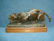 A French Bronze Statue Of A Crawling Panther Van Der Kemp 1920
