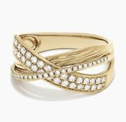 New Exquisite Diamond And Gold Crossover Ring / Effy/ Size 7/msrp 2705