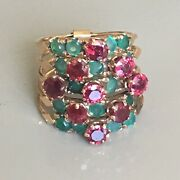 Victorian Burmese Ruby And Emerald Circa 1880s Signed Gold Antique Multi Band Ring