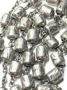 † Scarce Antique Sterling Etched Barrel Rosary Necklace 28 1/2 37.16 Grms †