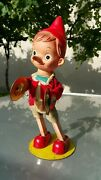 Vintage Pinocchio Cymbals Wind Up Toy Japan 1950 Tin Fabric Metal Rubber Works