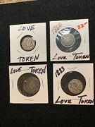 4 Pc Lot Love Tokens On 310c Seated Dimes And 1mexico Coins