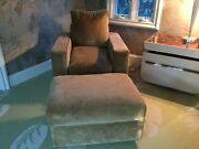2 Kreiss Velvet Lounge Chairs And Matching Ottomans