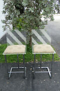 Hollywood Regency Set Of Two Lucite And Chrome Metal Bar Stool Chairs 1351