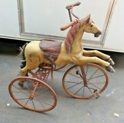 Antique 1800s Hand Carved Wooden Horse And Iron Tricycle Pedal Ride On Toy Western