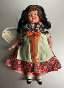 Antique German Celluloid Black Forest Girl Doll With Hair Beatrix 7 Excellent