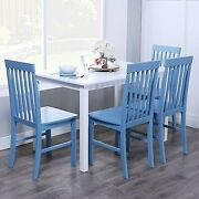 Farmhouse 5 Pc Dining Set Table Chairs Cottage Solid Wood Soft Blue White Kitche