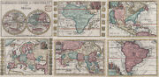 World And Erdteile Original Copperplate Map Ratelband 1735