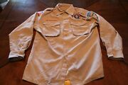 Boy Scout Switchback Shirt Youth Large Vented Tan Short And Long Sleeve Bsa 672