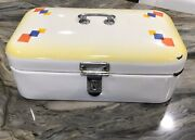 Vintage German White Enamel Bread Box With Primary Color Squares Lid + Latch
