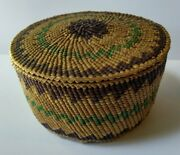 Antique Native American Makah Graphic Design Basket With Lid