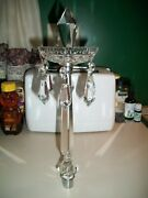 Large Antique French Crystal Obelisk With Bobeche And Prisms Candelabra Finial