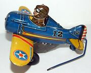 Vintage Tin 1940 Marx Wind Up Roll Over Stunt Airplane Blue And Yellow 12 Nice