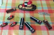 1999 Vintage Theodora Foduck Tugboat Set With Rebecca Rescue Vessel And Barges