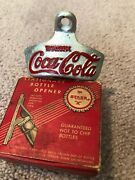 Antique Coca-cola Starr X Wall Mount Bottle Opener Brown Co. Made In Usa