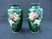 Pair 2 Of Vintage Japanese Cloisonne Green Vases With Flowers Signed