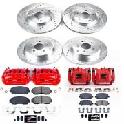 Kc5858 Powerstop Brake Disc And Caliper Kits 4-wheel Set Front And Rear For Honda