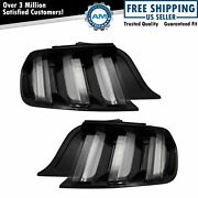 Led Tail Lights Clear Lens Black Housing Sequential Turn Signal Pair For Mustang