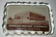 Vintage Advertising Glass Paperweight - Simmons Machine Company Albany New York