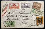 1928 Saar Germany Early Airmail Registered Cover To Paris France