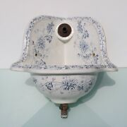 Antique Floral Victorian Blue And White Corner Sink. 19th Century