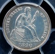 1890 Legend Seated Liberty Dime Pcgs Pr64 Bright Silver Clear And Lustrous
