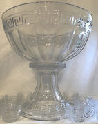 Heisey Glass Greek Key Crystal Punch Bowl And Stand And 13 Punch Cups Marked Heisey
