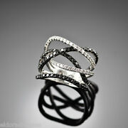 High End Coctail Ring - 3.50 Ct. White And Black Diamonds 18k White Gold Size 10