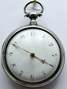Small Antique Silver Pair Cased Verge Pocket Watch Elizabeth Tope London 1816.