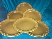 Set Of 6 Vintage Sheffield Granada Green Arches Scallop 10 Dinner Plates Lot