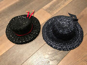 Vintage Ladies Hat Woven Straw Black And Blue Hats Labeled Beresford Lot Of 2