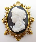 14k High Relief Black And White Cameo Pin Pendant J3418