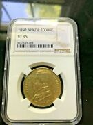 1850 Brazil Dom Pedro Ii Gold Coin 20000 Reis Ngc Vf35 .528 Oz Large Ruffle Bust