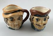 2 Vintage Miniature Figural Toby Mugs Made In Occupied Japan