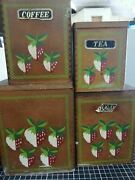 Set Of 4 Retro Vintage Wood Canisters Spice Containers Strawberry Kitchen Set