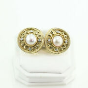0.50 Ct. Diamond 12 Mm Mabe Pearl Clip-on Pierced Earrings 18k Yellow Gold