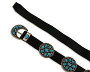 Navajo Concho Belt .925 Silver Hand Stamped Blue Arizona Turquoise